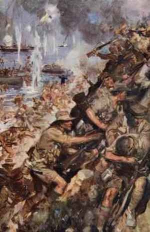 Realism painting reproductions: Midst Shot and Shell we made the narrow Beach landing at Gallipoli