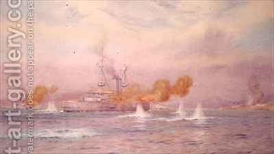 HMS Albion commanded by Capt A Walker Heneage completing the destruction of the outer forts of the Dardanelles in 1915 2 by Alma Claude Burlton Cull - Reproduction Oil Painting