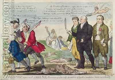Vaccination against Small Pox or Mercenary and Merciless spreaders of Death and Devastation driven out of society by Isaac Cruikshank - Reproduction Oil Painting