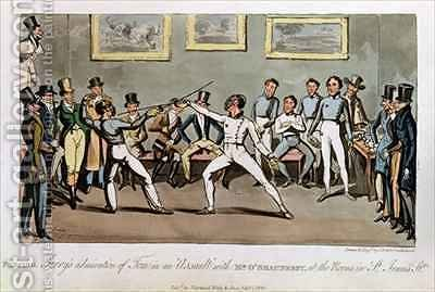 Fencing Jerrys admiration of Tom in an Assault with Mr OShaunessy at the rooms in St Jamess Street by I. Robert and George Cruikshank - Reproduction Oil Painting