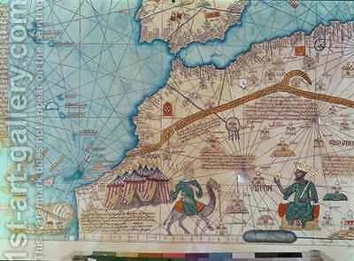 Detail from the Catalan Atlas 2 by Abraham Cresques - Reproduction Oil Painting