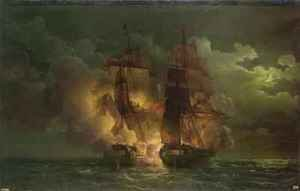 Battle Between the French Frigate Arethuse and the English Frigate Amelia in View of the Islands of Loz
