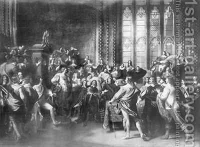 Charles I 1600-49 attempting to arrest five Members of Parliament by (after) Copley, John Singleton - Reproduction Oil Painting