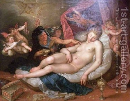 The Sleeping Danae Being Prepared to Receive Jupiter by Hendrik Goltzuis - Reproduction Oil Painting