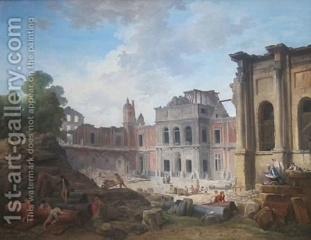 Demolition of the Chateau of Meudon by Hubert Robert - Reproduction Oil Painting