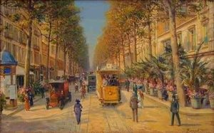 Famous paintings of Trams: Lavenue de la Gare a Nice