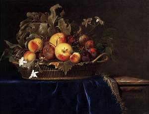 Reproduction oil paintings - Willem Van Aelst - Still-Life with a Basket of Fruit on a Marble Ledge