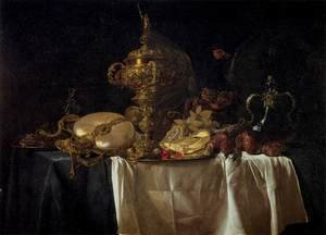 Reproduction oil paintings - Willem Van Aelst - Still-Life with Fruit, Parrot, and Nautilus Pitcher