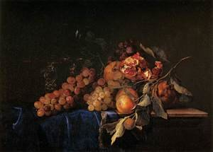 Reproduction oil paintings - Willem Van Aelst - Still-Life with Fruit and a Crystal Vase