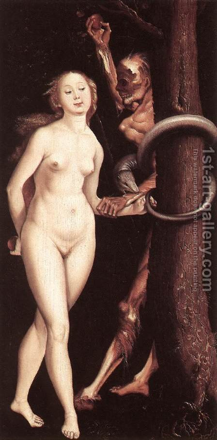 Eve, the Serpent, and Death by Hans Baldung  Grien - Reproduction Oil Painting