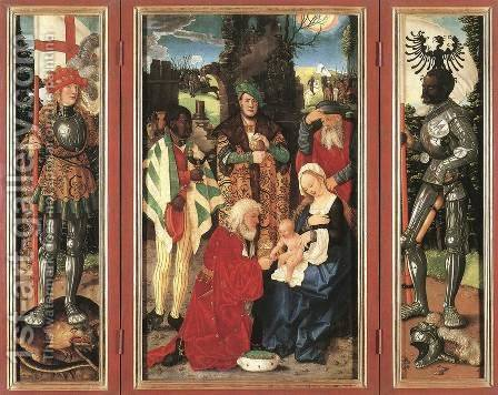Three Kings Altarpiece (open) by Hans Baldung  Grien - Reproduction Oil Painting
