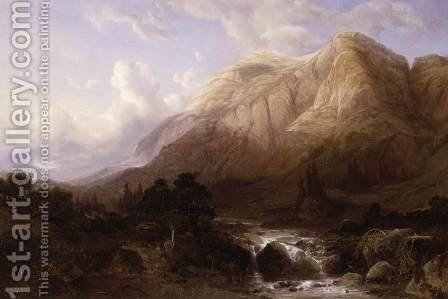 Mountainous Landscape with a Torrent by Alexandre Calame - Reproduction Oil Painting