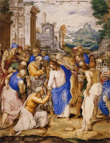 Christ Giving the Keys to St Peter by Giovanni B. (Il Genvovese) Castello - Reproduction Oil Painting