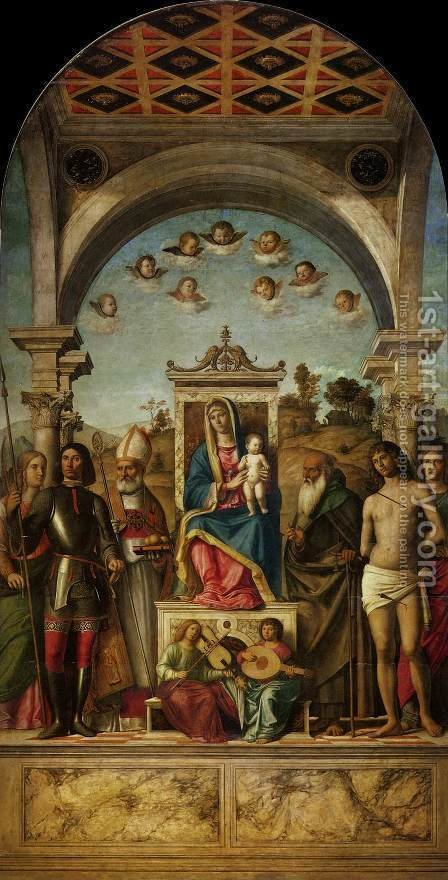 Madonna and Child Enthroned with Saints 2 by Giovanni Battista Cima da Conegliano - Reproduction Oil Painting