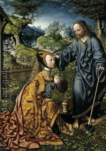 Christ Appearing to Mary Magdalen as a Gardener 2 by Jacob Cornelisz Van Oostsanen - Reproduction Oil Painting