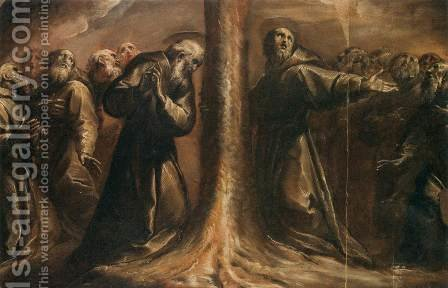 Religious Figures Praying at the Foot of a Tree by Giovanni Battista Crespi (Cerano II) - Reproduction Oil Painting