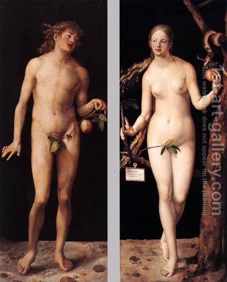 Adam and Eve 3 by Albrecht Durer - Reproduction Oil Painting