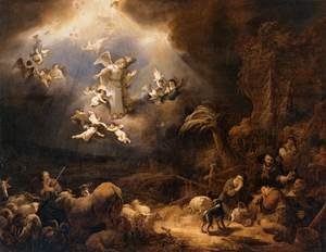 Govert Teunisz. Flinck reproductions - Angels Announcing the Birth of Christ to the Shepherds