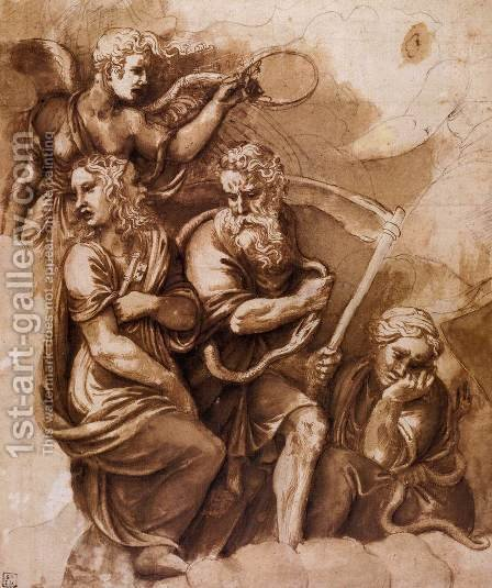 Victory, Janus, Chroonos, and Gaea by Giulio Romano (Orbetto) - Reproduction Oil Painting