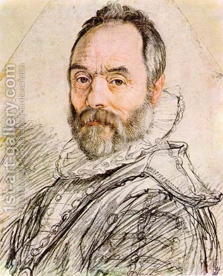 Portrait of Sculptor Giambologna 2 by Hendrick Goltzius - Reproduction Oil Painting