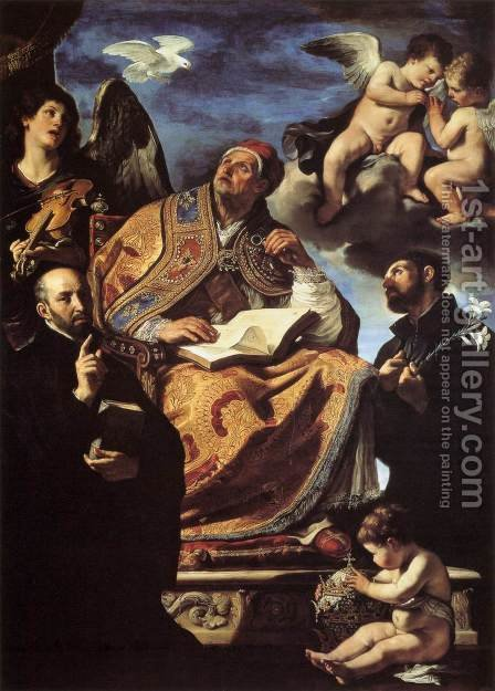 St Gregory the Great with Sts Ignatius and Francis Xavier by Guercino - Reproduction Oil Painting