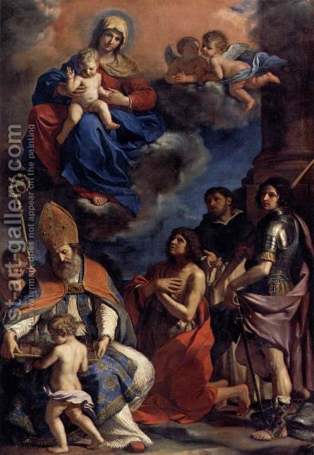 Virgin and Child with Four Saints by Guercino - Reproduction Oil Painting