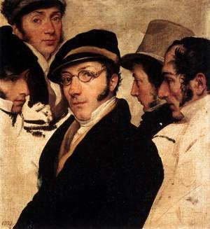 Reproduction oil paintings - Francesco Paolo Hayez - Self-Portrait in a Group of Friends