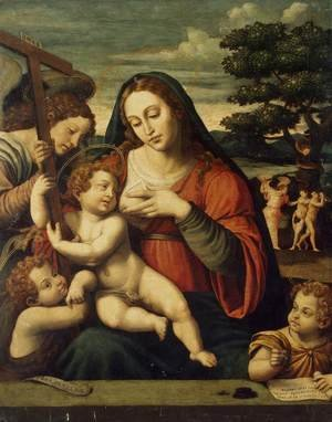 Reproduction oil paintings - Juan De (Vicente) Juanes  (Masip) - Virgin and the Child with Sts John the Baptist and John the Evangelist
