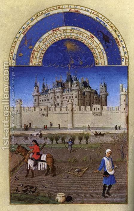 Les tres riches heures du Duc de Berry Octobre (October) by Harry J. Pearson - Reproduction Oil Painting