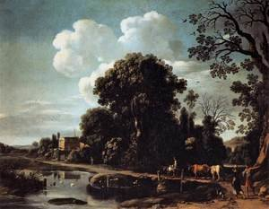 Famous paintings of Clouds & Skyscapes: River Landscape