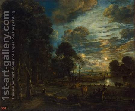 Night Landscape with a River by Aert van der Neer - Reproduction Oil Painting