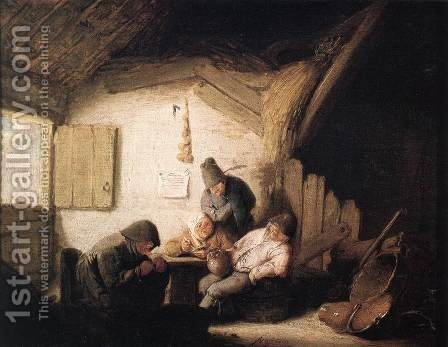 Village Tavern with Four Figures 2 by Adriaen Jansz. Van Ostade - Reproduction Oil Painting