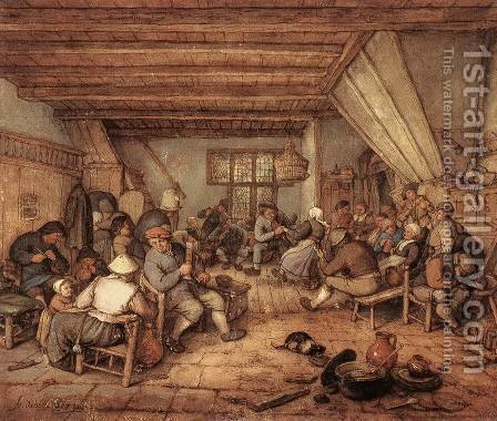 Feasting Peasants in a Tavern 2 by Adriaen Jansz. Van Ostade - Reproduction Oil Painting