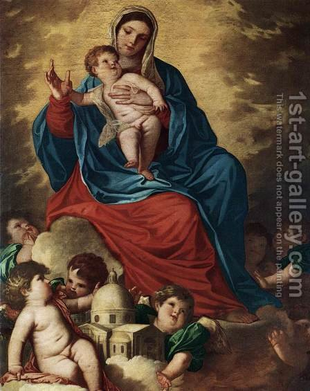 The Madonna with Design of a Shrine by (Alessandro) Padovanino (Varotari) - Reproduction Oil Painting