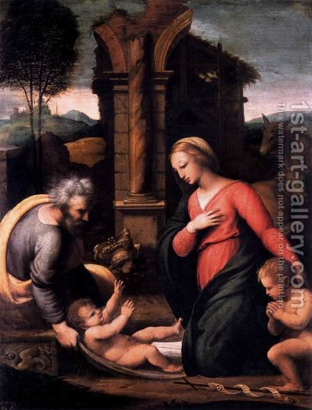 Holy Family with the Infant St John by Giovanni Francesco Penni - Reproduction Oil Painting