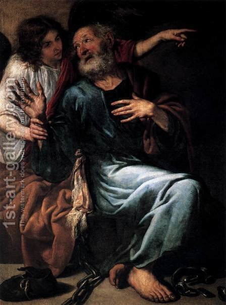 Antonio de Pereda: The Liberation of St Peter by an Angel - reproduction oil painting