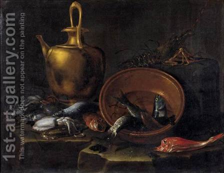 Still-Life with Fish by Giuseppe Recco - Reproduction Oil Painting