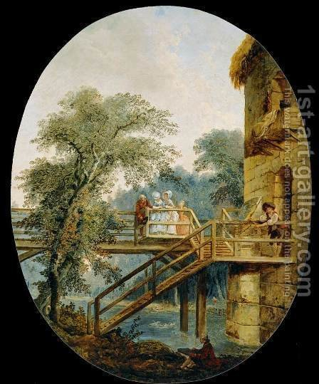 The Footbridge by Hubert Robert - Reproduction Oil Painting