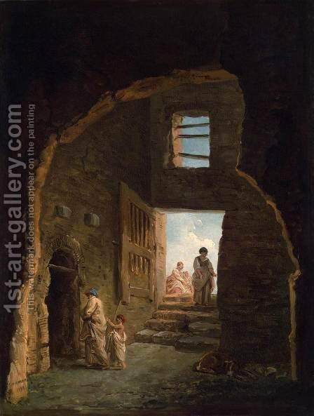 Inhabited Ruins by Hubert Robert - Reproduction Oil Painting