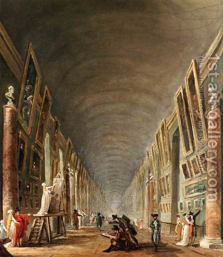 The Grande Galerie (detail) by Hubert Robert - Reproduction Oil Painting