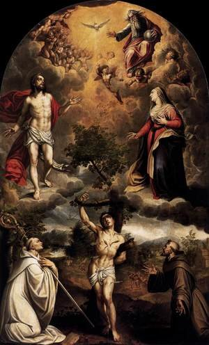 Reproduction oil paintings - Alonso Sanchez Coello - St Sebastian between St Bernard and St Francis