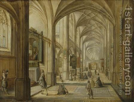 Interior of a Gothic Church by Hendrick van, the Younger Steenwyck - Reproduction Oil Painting