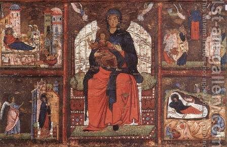 Virgin and Child Enthroned with Scenes from the Life of the Virgin by Italian Unknown Master - Reproduction Oil Painting