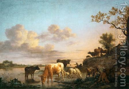 Animals by the River by Adriaen Van De Velde - Reproduction Oil Painting