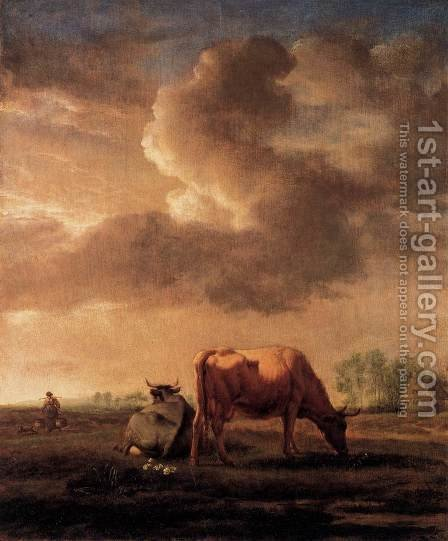 Cows on a Meadow by Adriaen Van De Velde - Reproduction Oil Painting