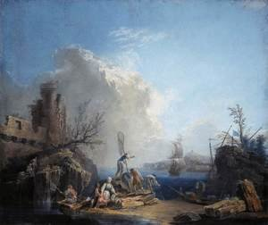 Seascape with Fisherman on a Rocky Shore