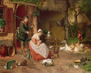 Realism painting reproductions: Farmyard Scene