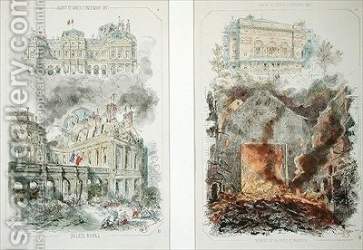 The Palais Royal and the Theatre de la Porte Saint Martin before and after the fire of 1871 by (after) Coindre, Victor - Reproduction Oil Painting