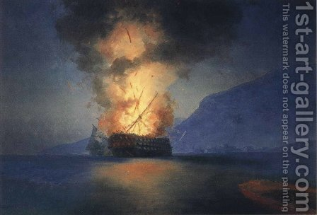 Exploding Ship by Ivan Konstantinovich Aivazovsky - Reproduction Oil Painting