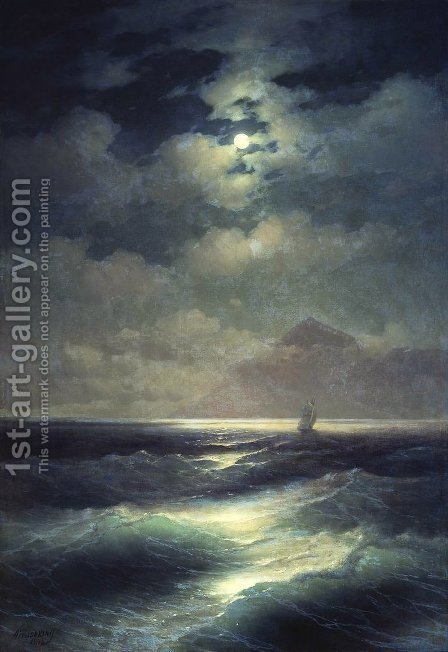 Sea view by Moonlight by Ivan Konstantinovich Aivazovsky - Reproduction Oil Painting